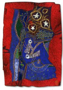 Jardin aux trois étoiles, 2004. Emaux, or liquide, feuille d'or et argent. Jean-Claude Bessette