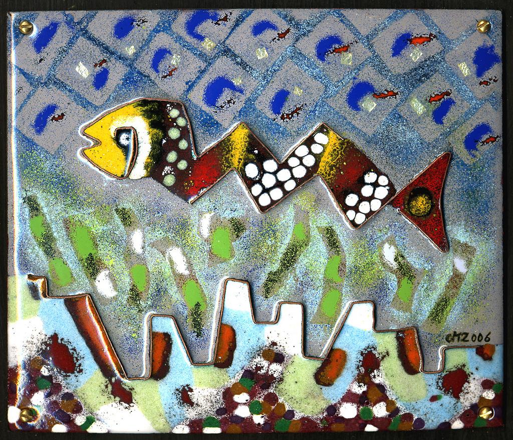 Le poisson, émail peint et cloisonné, 2006, Christophe  Mirande