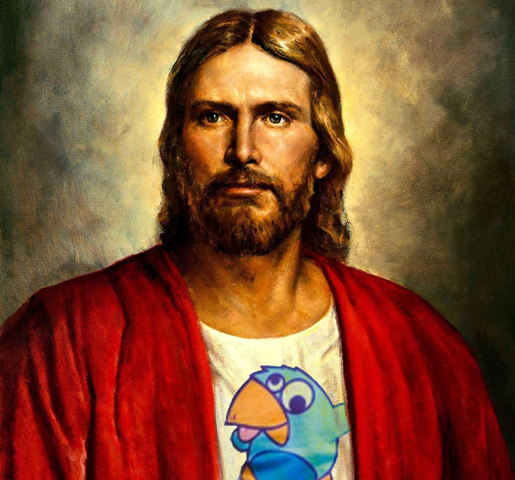 Jésus, fan de KNAR, portant un tee-shirt de la marque  Birdy Brain