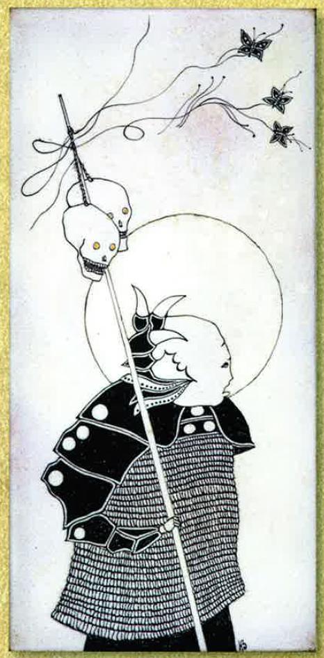 Guerrier aux Papillons, 1983, Emaux, Noir vitrifiable, Jean-Claude Bessette