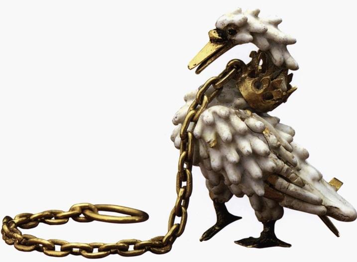 Bijou le cygne, émail ronde bosse, vers 1400, Bristish Museum