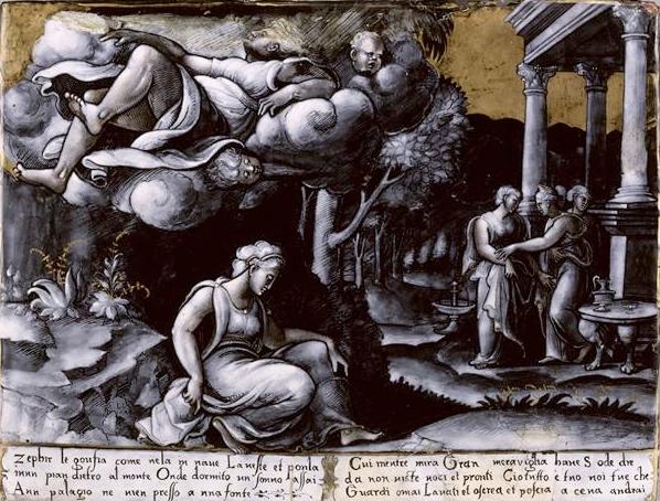 Léonard Limosin, Psyché enlevée par Zéphir, 1534, émail peint sur cuivre, Paris, musée du Louvre. L'artiste s'inspire d'une gravure italienne d'après une composition de Raphaël et reprend même les vers italiens qui l'accompagnaient.