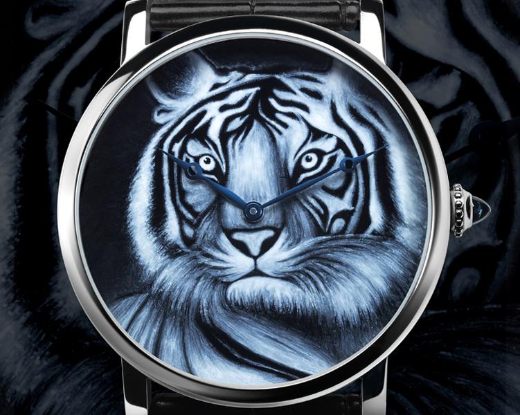 Montre Rotonde de Cartier 42 mm, décor tigre, émail grisaille, 2012 Edition limitée de 100 pièces