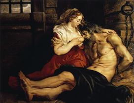 Cimon et Péro, P. P. Rubens (1577-1640), 1612, Huile sur toile, 140.5 x 180.5cm, Musée National de L'Ermitage, Saint-Pétersbourg, Russie