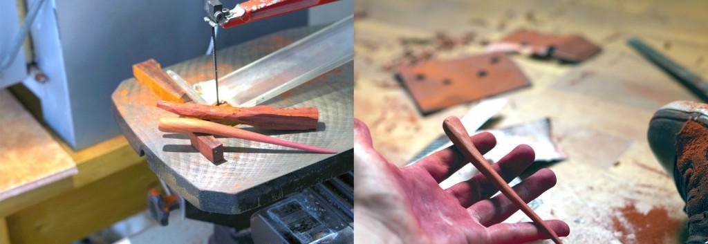 Dégrossissage à la scie à chantourner puis finition au cutter et papier émeri.