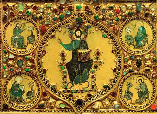Détail du pala d'oro (christ en majesté et les évangiles)