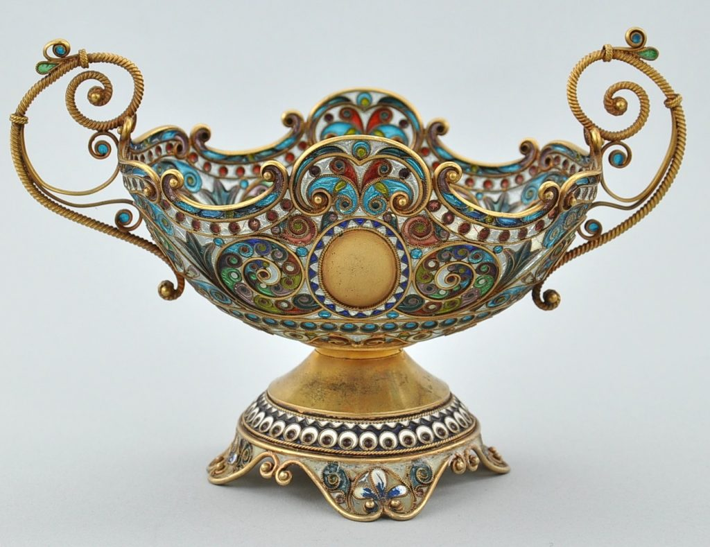 Bol Faberge en émail plique à jour, argent doré signée par le maître artisan Fedor Afanassiev, St. Petersbourg, autour de 1900