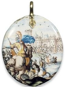 Médaillon en émail vitrificables sur or par Henri Toutin, 1637, H: 4,9cm, British Museum