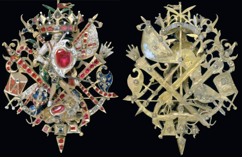 broche Naseby, or, émaux, diamants, rubis, 1615, conservé aumusée Sir John Soane, Londres