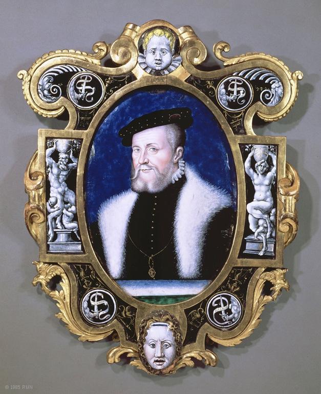 Portrait de Anne de Montmorency, connétable de France par Léonard Limosin, 1556, émail peint sur cuivre, Paris, musée du Louvre, Le cadre est d'origine. H: 72cm
