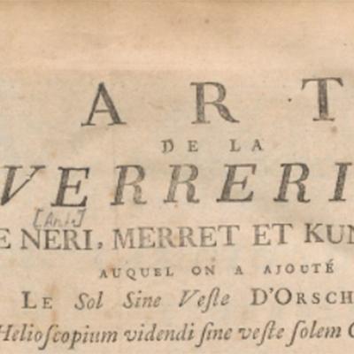 Livre – L' Art de la verrerie de Neri, Merret et Kunckel